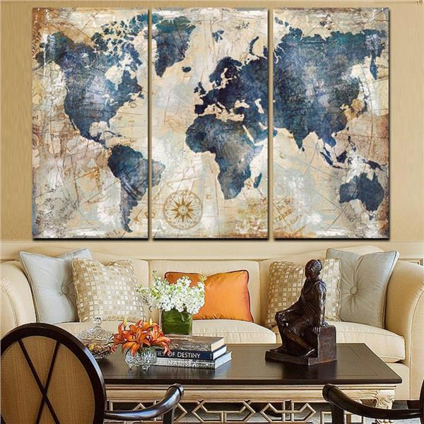 3Pcs World Map Modern Wall Canvas Painting Print Home Decor # Framed