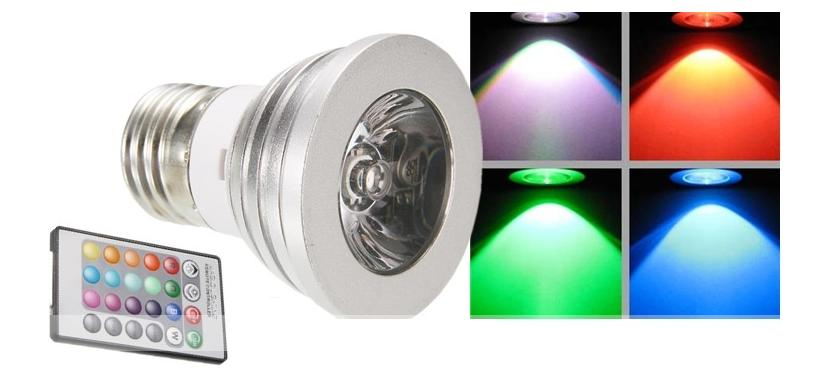 3W E27 LED RGB Light Bulb with Wireless Control (Disco effect)