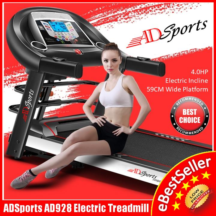 4.0HP ADSports AD928 Motorize Electric Treadmill Incline 4 Way Damping