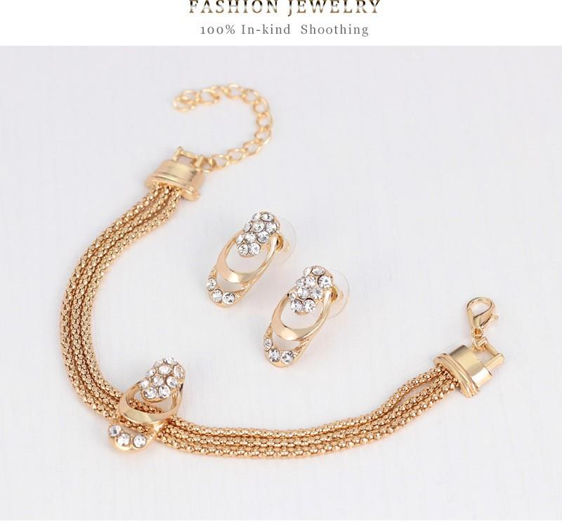 4 in 1 Fashion Gold-Plated Diamond Jewelry Set