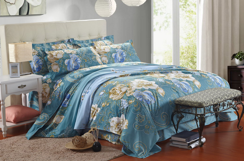 4 In 1 Queen Size Fitted Bed Sheet High Quality Flower Series. U2039 U203a