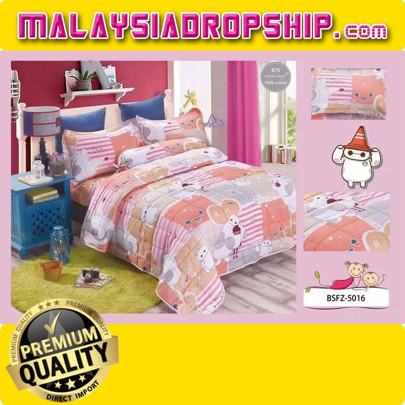 4 In 1 Set High Quality 800TC Big Hero Bedding Bed Sheet Super Single Size.  U2039 U203a