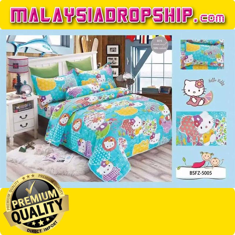4 In 1 Set High Quality 800TC Hello Kitty Bedding Bed Sheet Super Single  Size. U2039 U203a