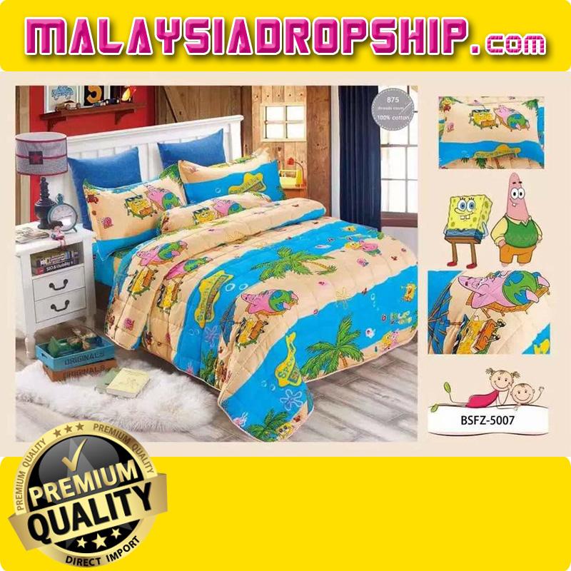 4 In 1 Set High Quality 800TC SpongeBob Bedding Bed Sheet Super Single  Size. U2039 U203a