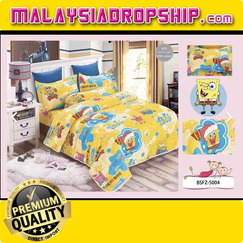 4 In 1 Set High Quality 800TC SpongeBob Bedding Bedsheet Super Single Size