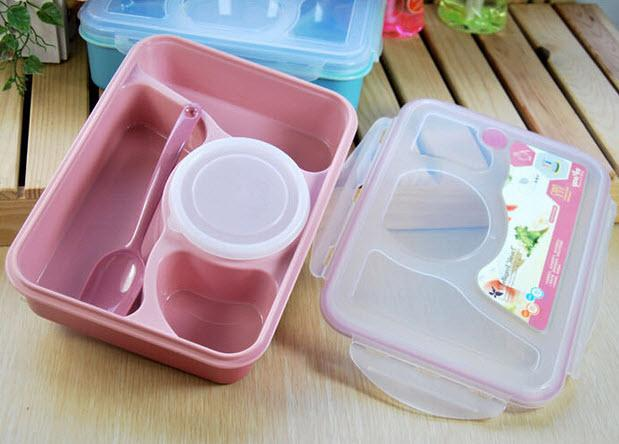 4+1 Student Lunch Box With Plastic Spoon **OFFER