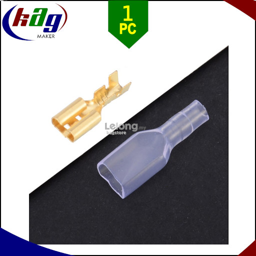 4.8mm Brass Crimp Terminal Female Spade Connector /w Insulating Sleeve