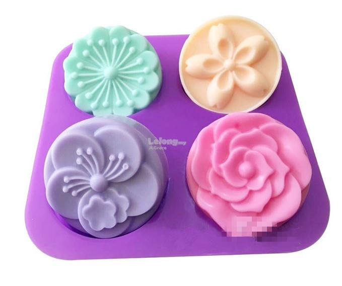 4 Cavities Elegant Flower Silicone Soap Jelly Cake Mould Mold