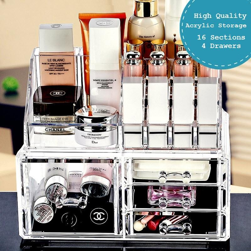 Good 4 Drawer Acrylic Cosmetics Organizer Makeup Accessories Storage Box