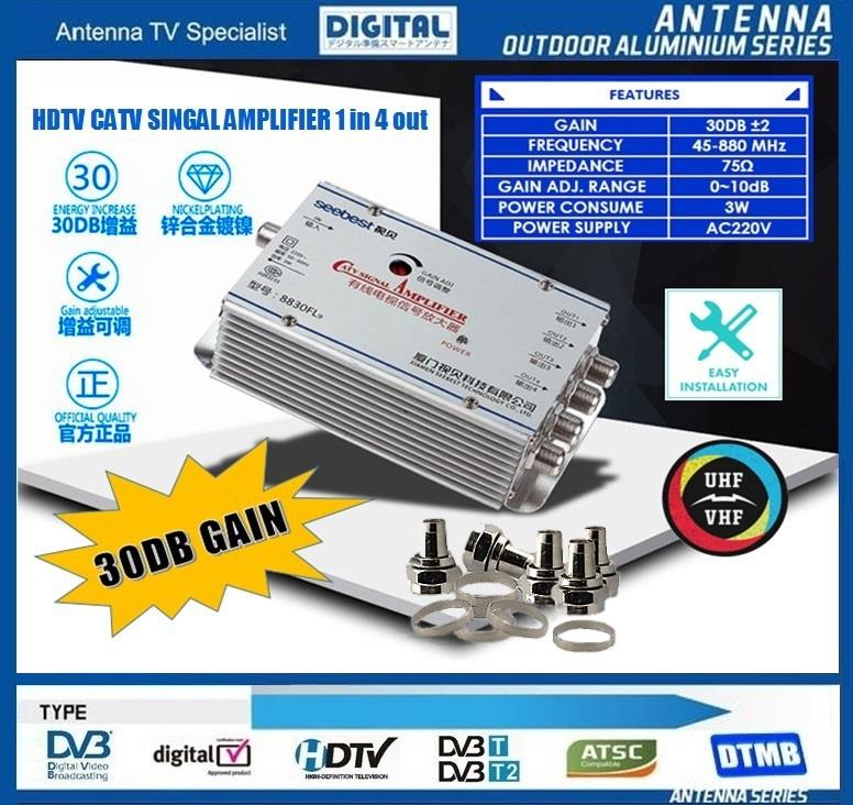4 WAY HDTV CATV DIGITAL TV Antenna SignalLine Booster Splitter 1in4out