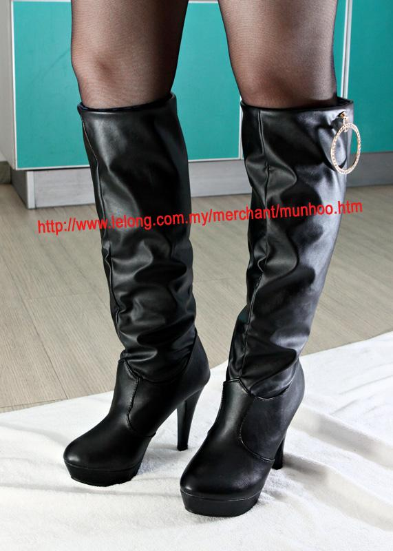 4 Inch 10cm Knee High Heel Boots Black Size 6, Size 36