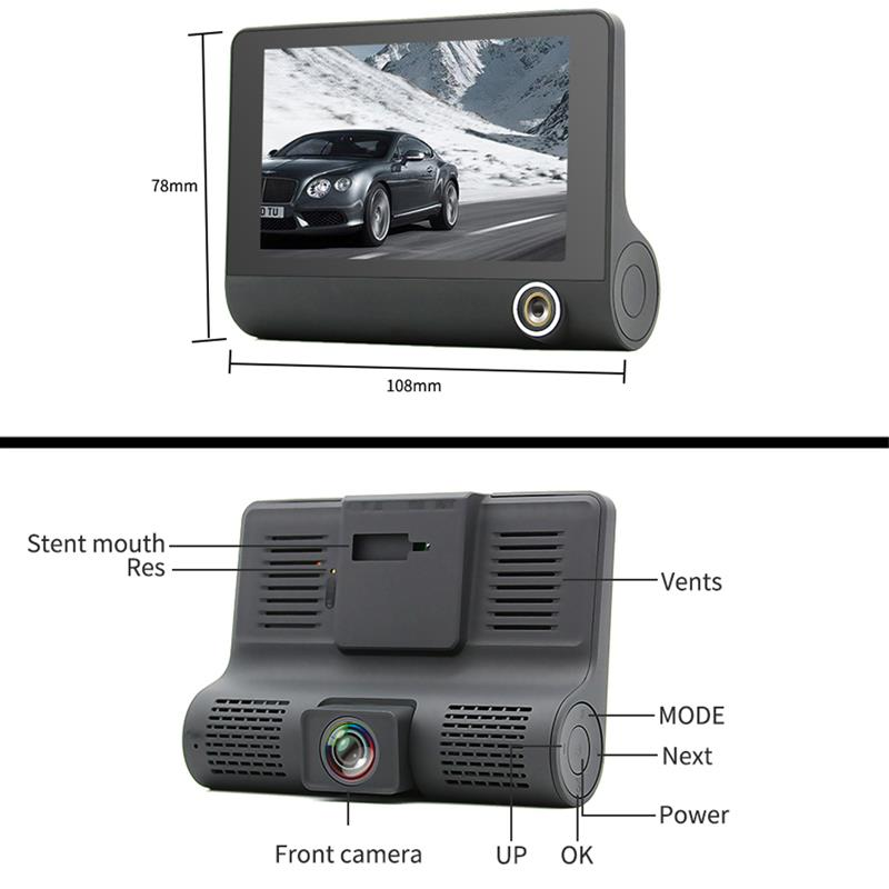 4 inch 3Lens 1080P Car Rear View Mirror Camera Video Driving Recorder