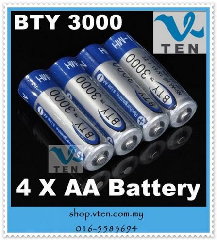 4 Pcs BTY 3000 1.2V AA Ni-MH Rechargeable Battery Batteries