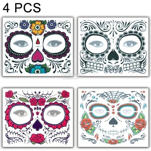 4 PCS Halloween Waterproof Temporary Face Tattoo Stickers