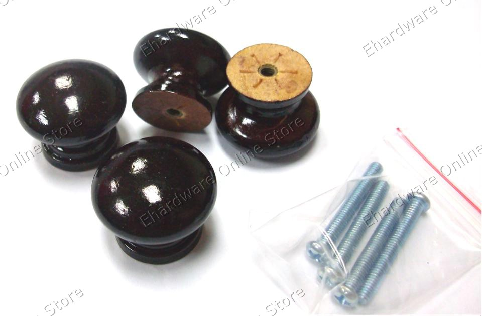 4 Pieces Classical Furniture Wooden Knobs Puller 27mm (XY8038)