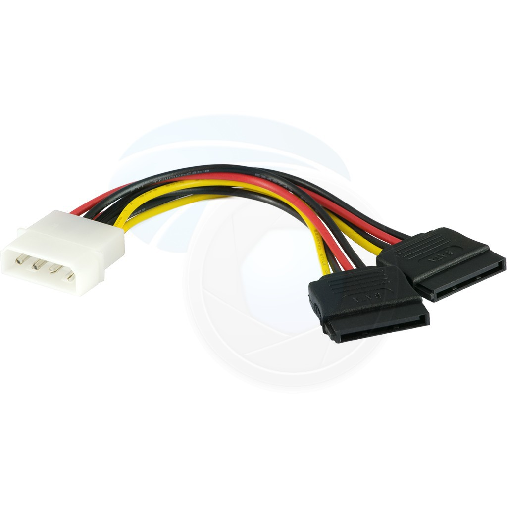 4 Pin IDE Molex Male to 2 x 15 Pin SATA Female Power Cable Serial ATA