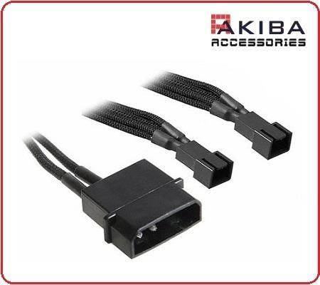4-Pin IDE to Dual Way 2x 3-Pin Fan Power Connector Cable