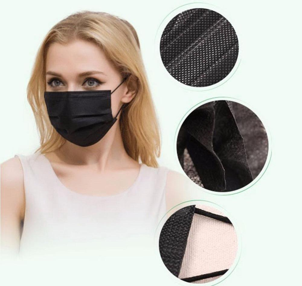 4 Ply Earloop Activated Carbon Face Mask - Black (M032)