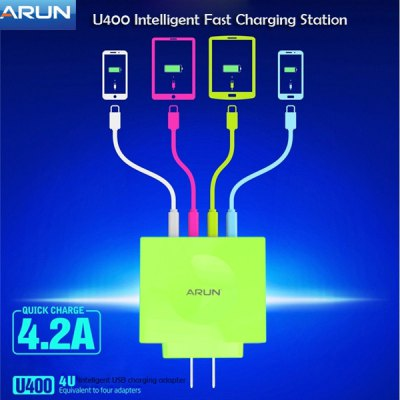 4 Port Intelligent USB Fast Charging Station - 100 - 240V