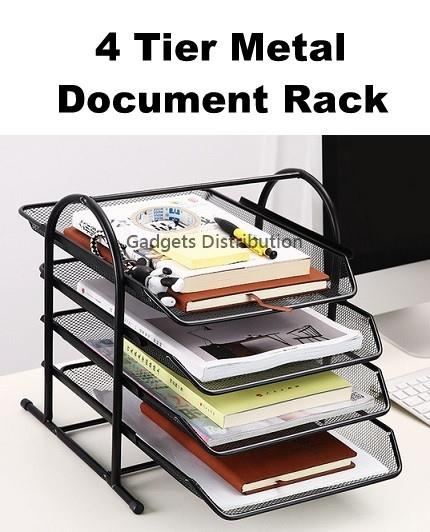 4 Tier  Black Mesh Metal Office File Document Rack Storage Organizer