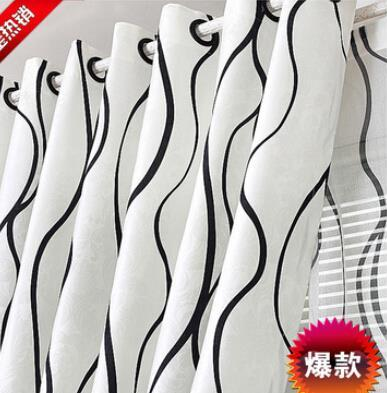 40 Black White Stripe Modern Style Window Curtains Curtain High 27m
