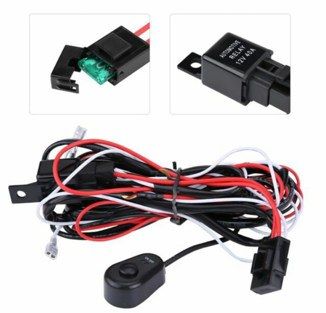 40A 12V Car Driving Fog Light Lamp Wiring LED Work Light Cable