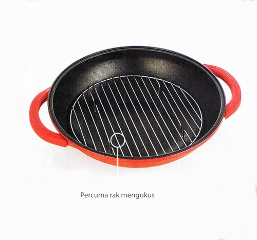 40cm Die Cast Non-Stick Korea Wok (Red)