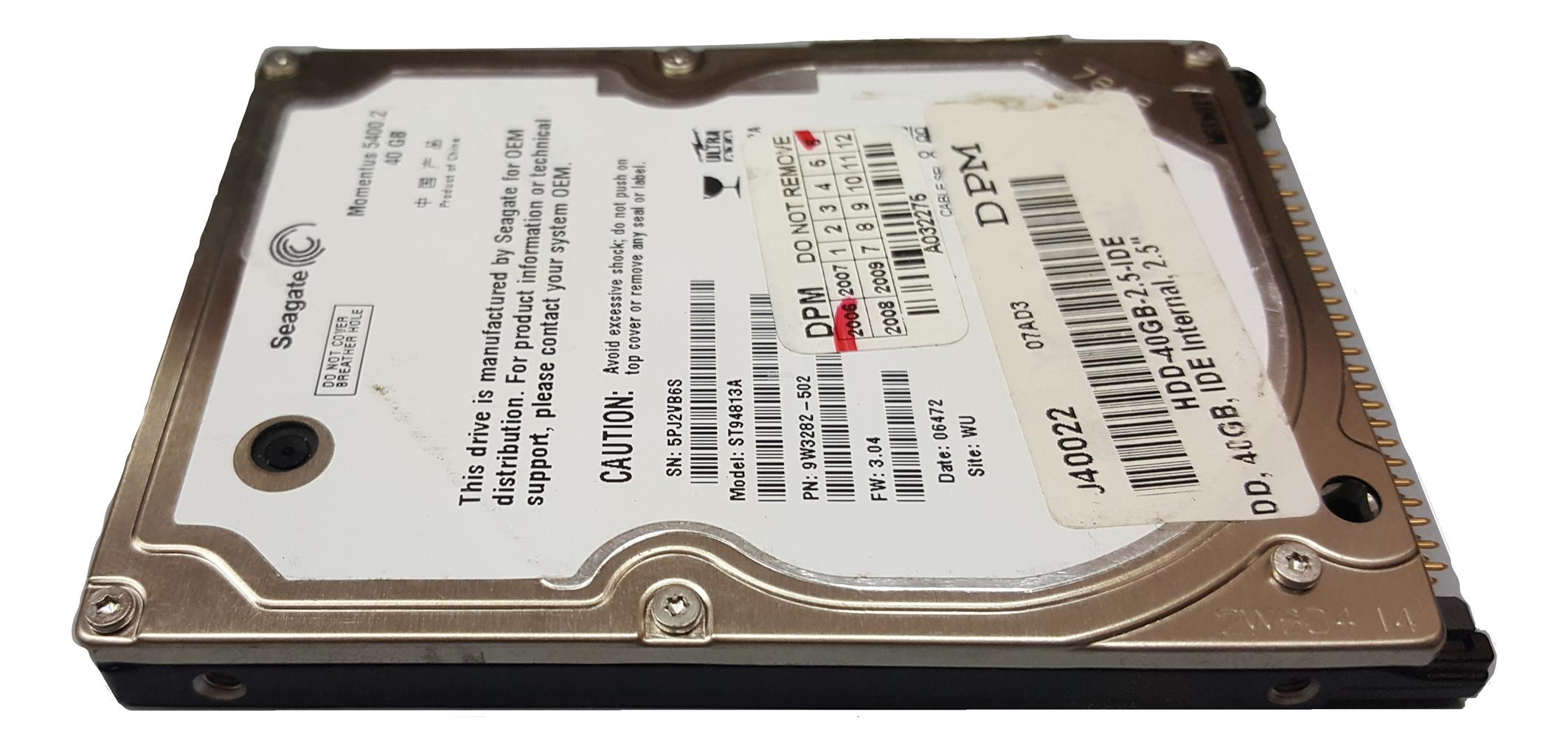 Used 40GB IDE Laptop Notebook Hard Disk Drive