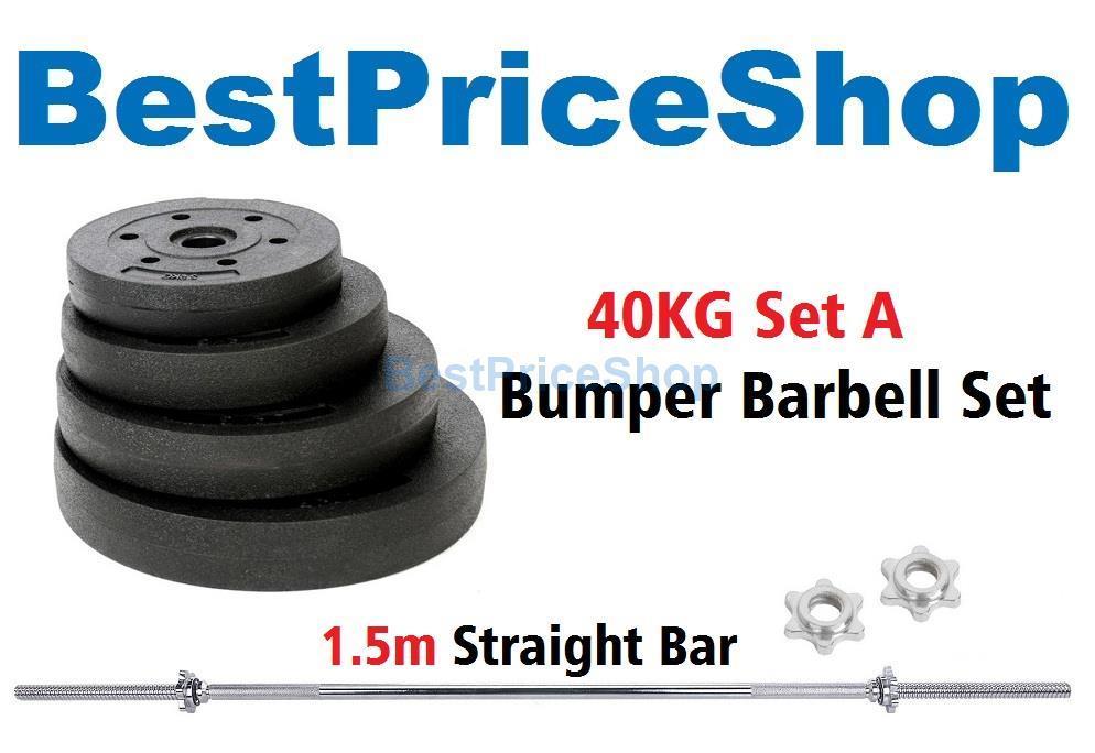 40kg Set A Top Grade Bumper Barbell Dumbbell Weightlifting Bar Gym