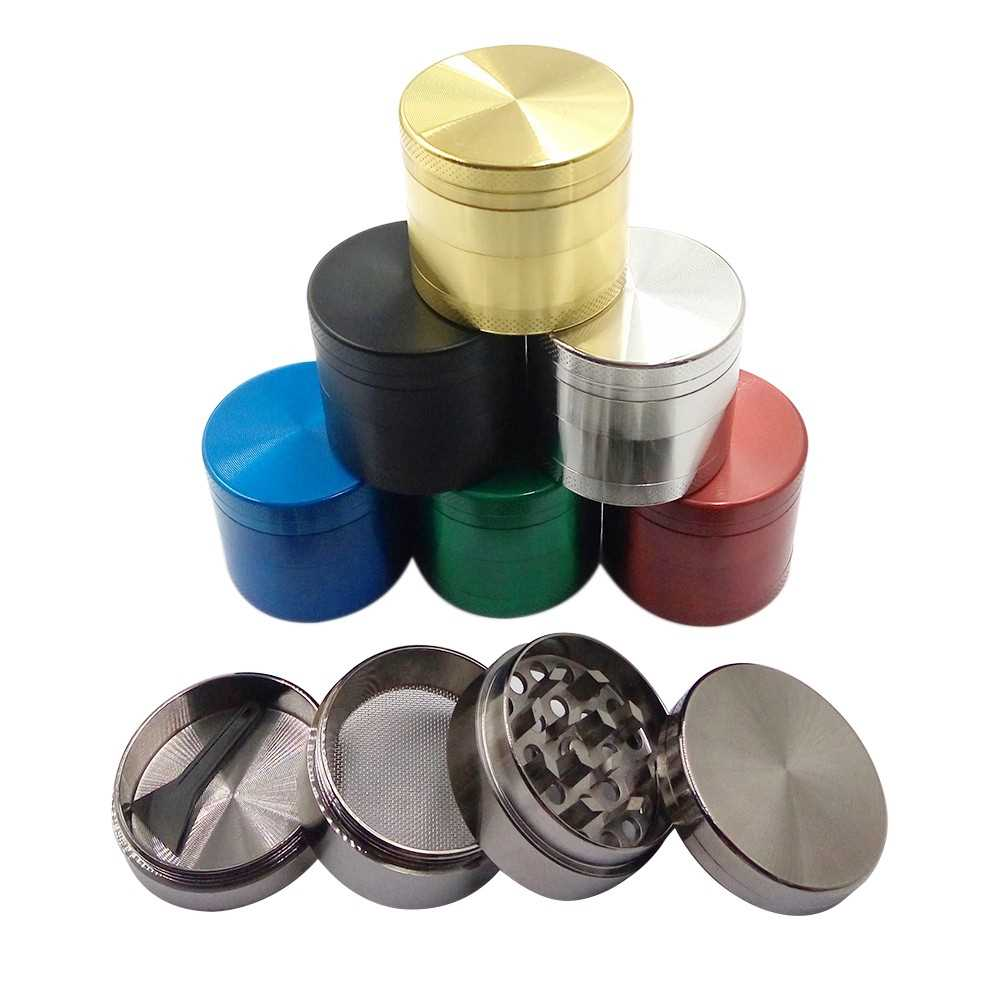 40mm 4 Layers Cylinder Smoke Grinder Zinc Alloy Metal Tobacco Grinder Smoking