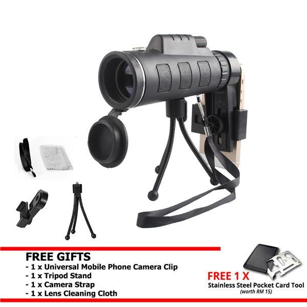 0b96dda1b3f1ba 40x Phone Camera Lens HD Dual Focus Monocular Telescope Phone Holder. ‹ ›