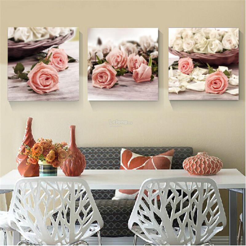 40x40cm 3 Piece Modern Wall Painting Canvas Pictures Rose Flowers Home