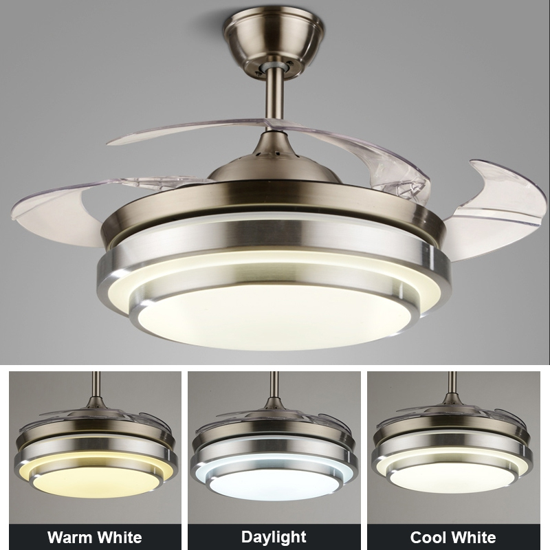 42 Inch Ceiling Fan Led Light Hidden Blade Invisible Pendant Living Di