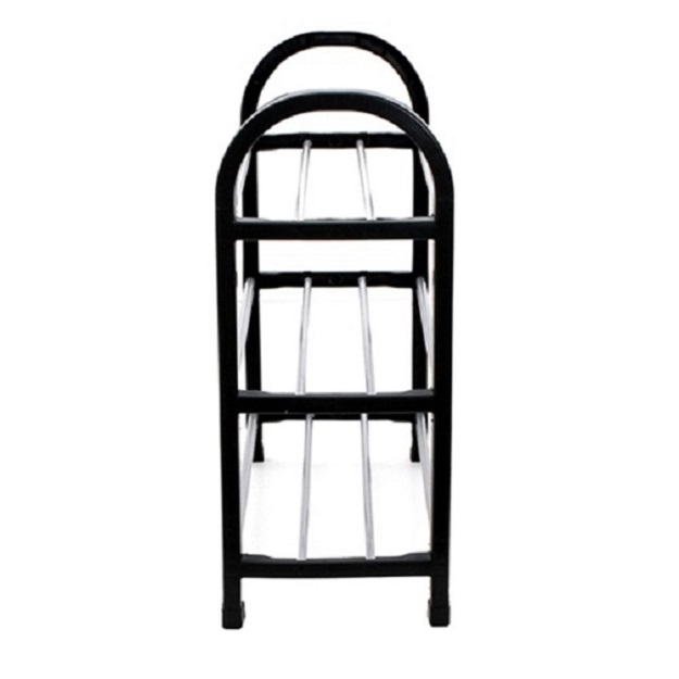 42CM Shoe Rack Shelf 3 Tier Shoes Storage Black Plastic Closet Multi-S..