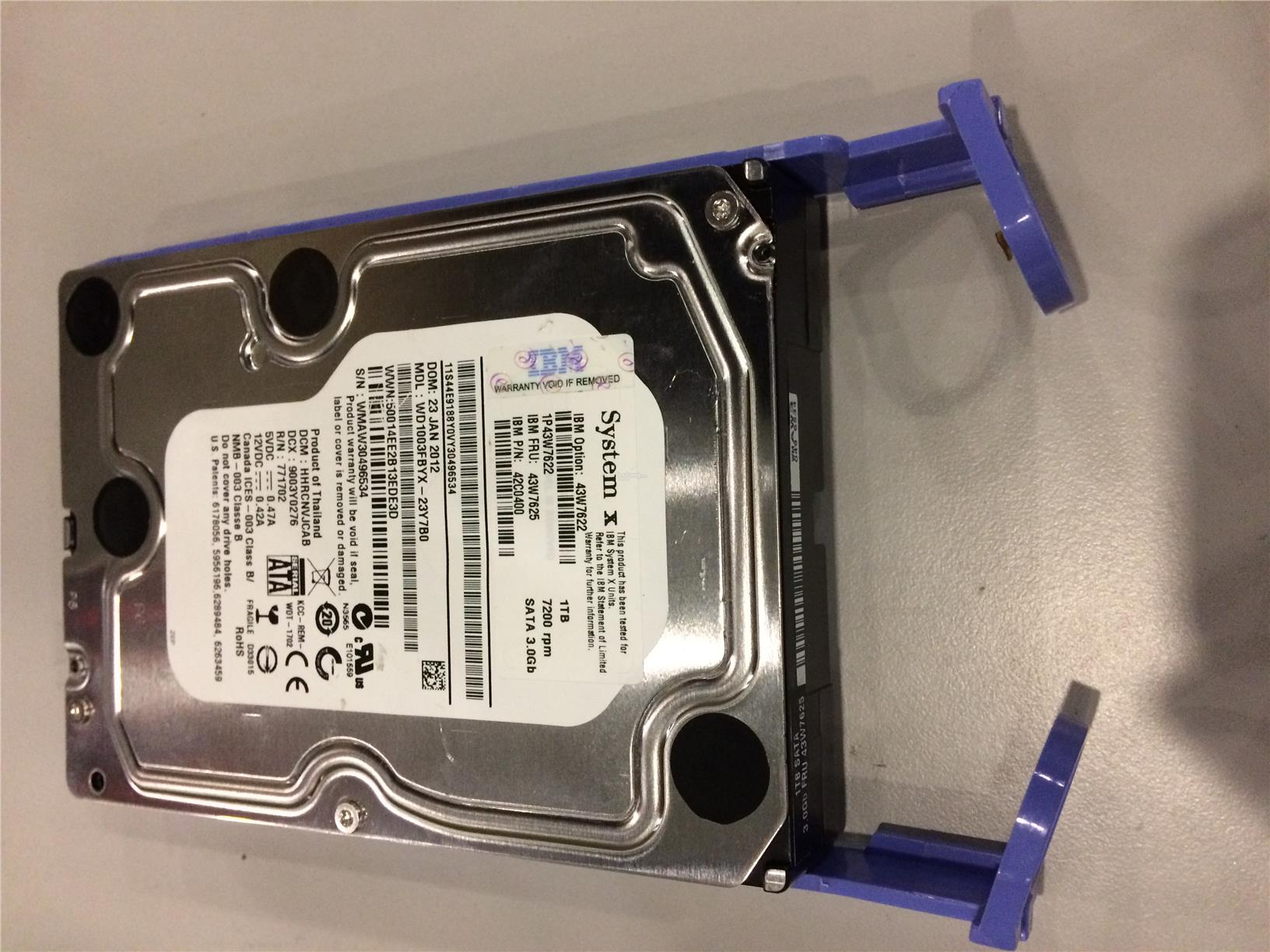43W7622 43W7625  42C0400 IBM 1TB 7.2K SATA 3.5' Simple-Swap HDD