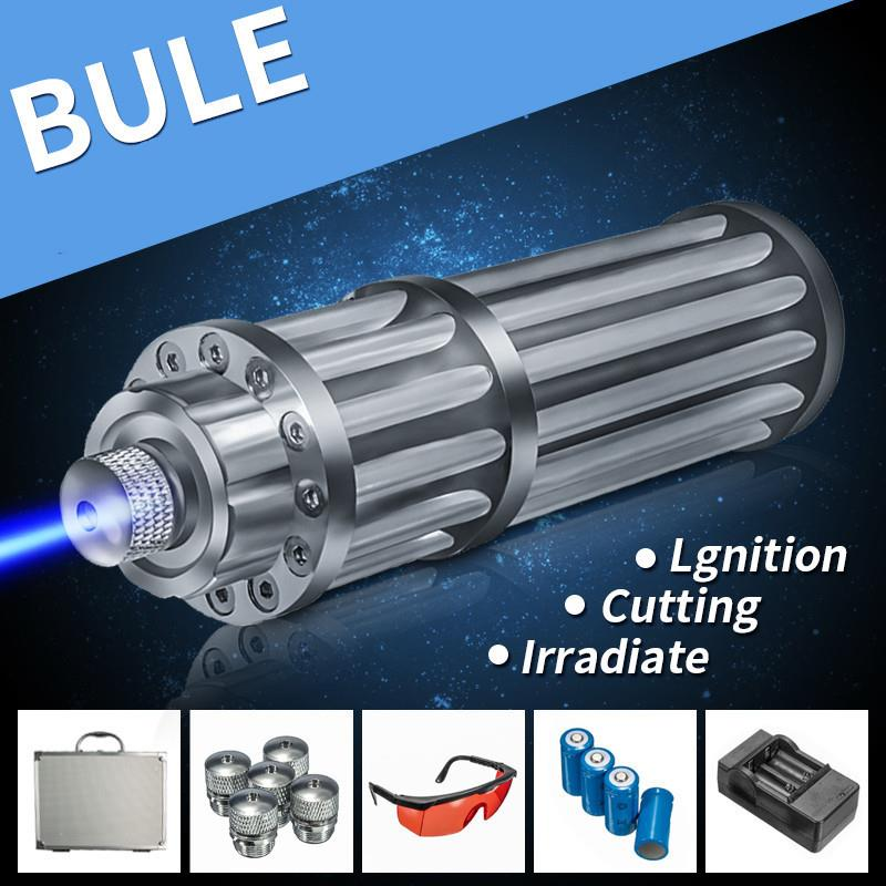 450nm Blue Light Laser Pointer Beam Free 4 Battery Ready Stock
