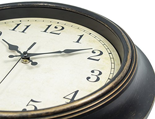 ..// 45Min 14 Inches Retro Wall Clock, Silent Non Ticking Battery Operated Mov