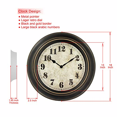 ..// 45Min 18-Inch Retro Wall Clock, Silent Non-Ticking Round Home Decor Wall