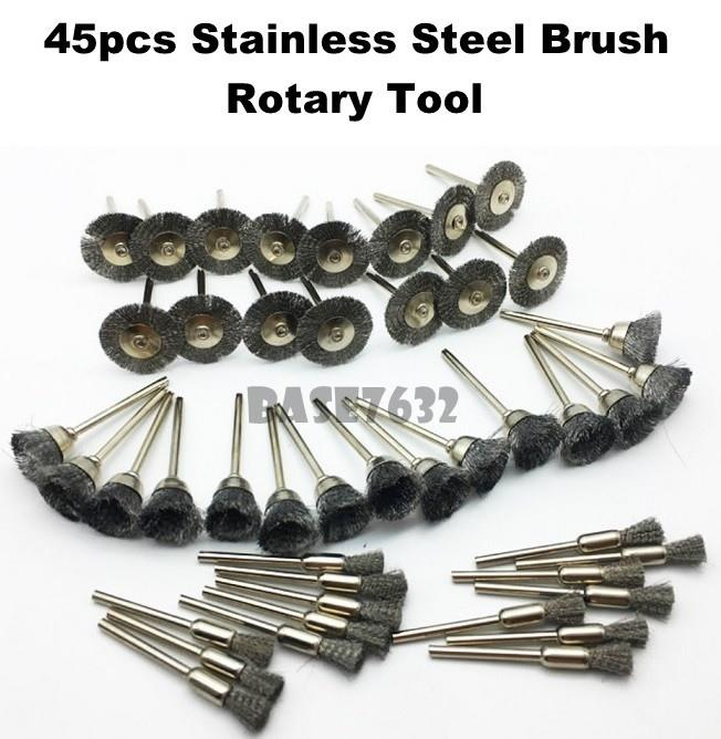 45pcs  Stainless Steel Wire Wheel End Cup Brushes Rotary Dremel Tools