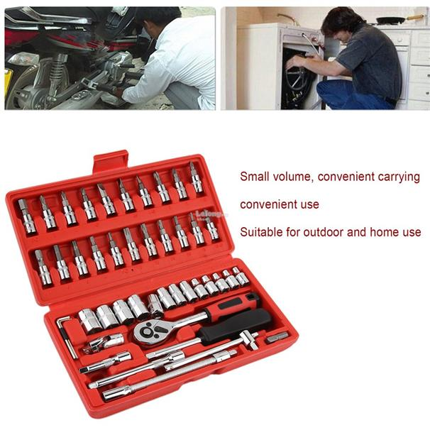 46 Pcs Car Repair Tool Combination Tool Set Spanner Screwdriver Head S