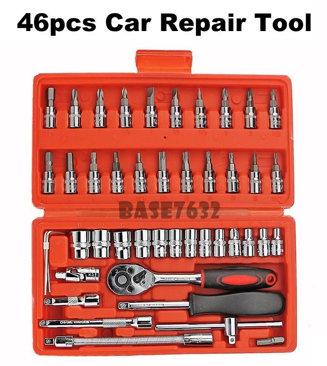 46 pcs  Vehicle Car Emergency Kit Car Repair Tool Kit Socket Set Box