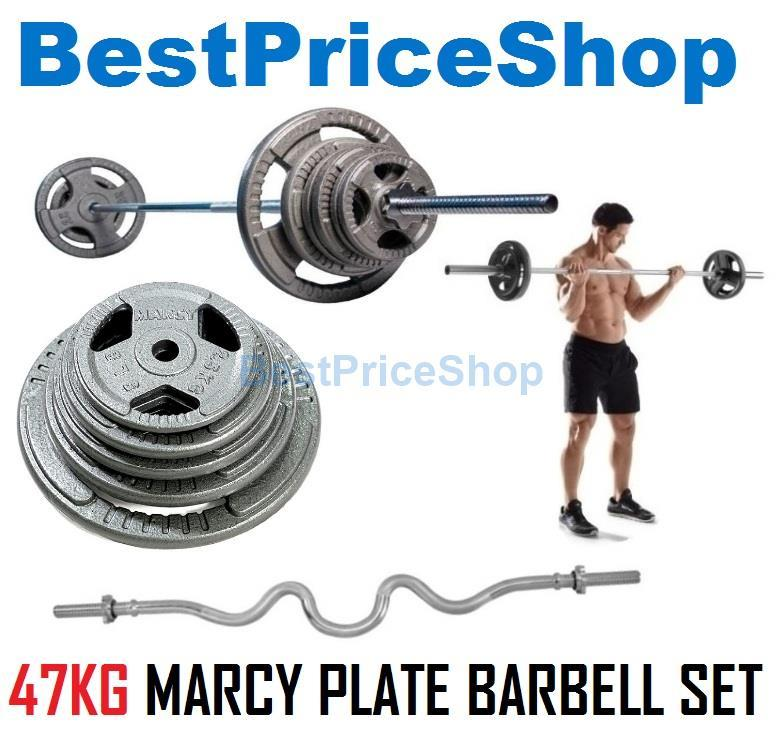 47kg Marcy Plate Weightlifting Barbell Set Dumbbell Workout Fitness