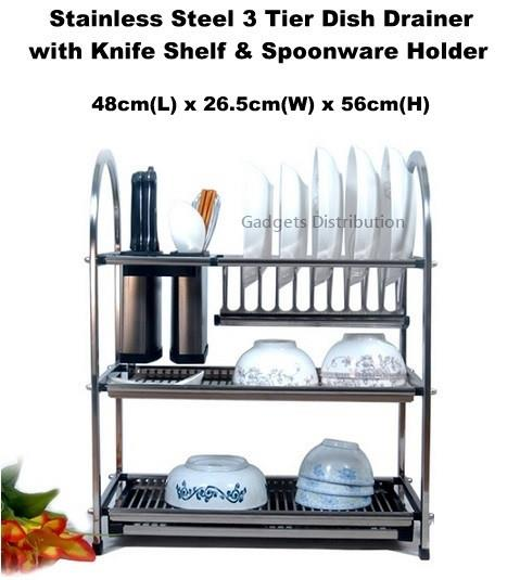 48cm 3 Tier Stainless Steel Dish Drainer Drying Rack Holder 2475.1