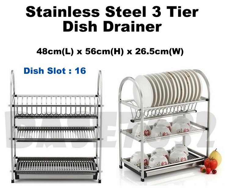 48cm  3 Tier Stainless Steel Dish Drainer Drying Rack Organizer