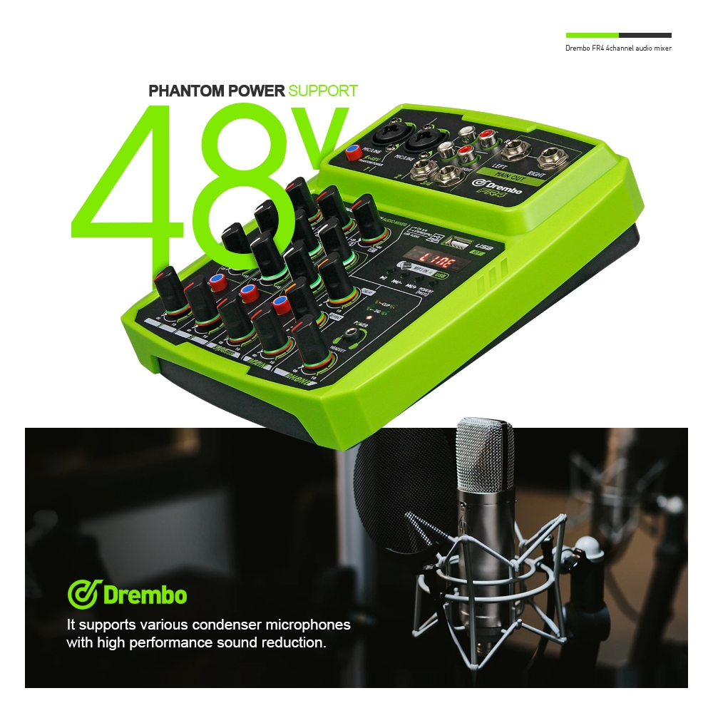 4channel PORTABLEdgtl Audio Mixer Console With Sound Card,BLUE - [RED]