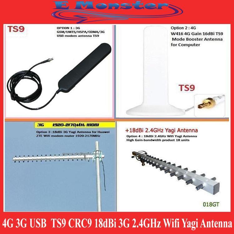 4G 3G USB modem antenna TS9 CRC9 18dBi 3G 2 4GHz Wifi Yagi Antenna