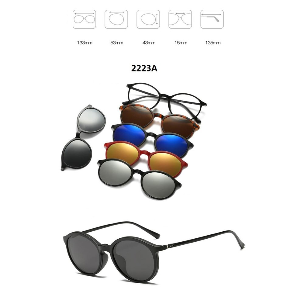4GL 2223A Magnetic Clip On 6 in 1 Polarized UV Protection Sunglasses