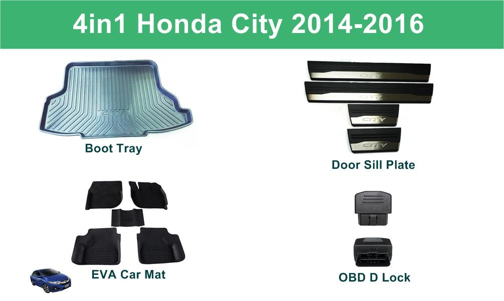 4in1 Honda City Boot Tray + EVA Mat + OBD D Lock + Door Sill Plate