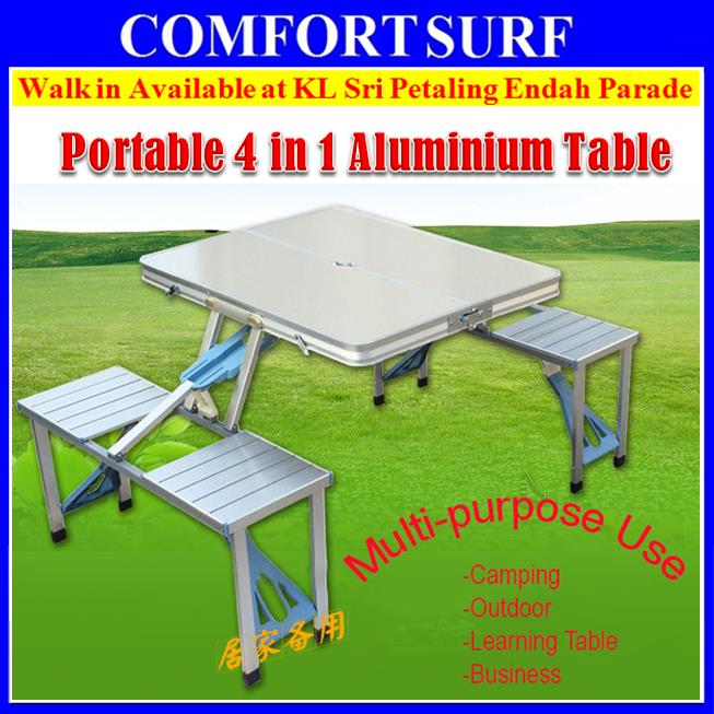 4in1 Portable Outdoor Camping Picnic Aluminium Table + Umbrella Hole
