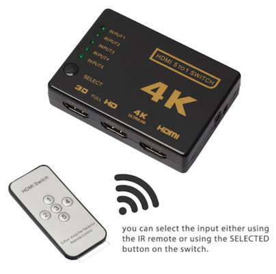 4K Ultra HD 5 In 1 Out Mini HDMI Switcher